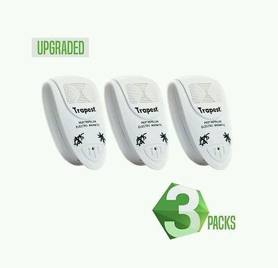 TRAPEST Ultrasonic Electro Magnetic Natural Indoor Pest Control (3 Pack) UK PLUG