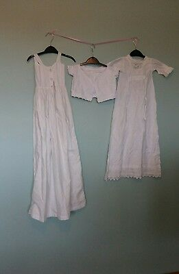 three vintage antique baby items, cotton with lace. Edwardian Victorian