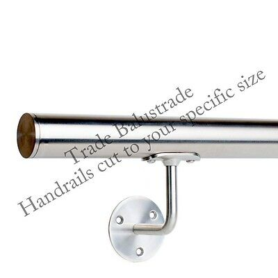 Handrail Wallrail Bannister Grab rail with Flat End Caps cut to size