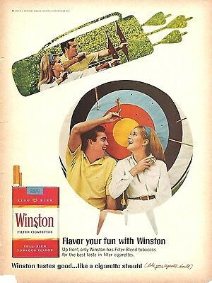 1968 Winston Cigarette Print Ad Flavor Your Fun Target Practice Bow & Arrow