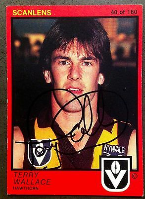 1982 Scanlens Vfl Card Personally Signed By Terry Wallace Hawthorn