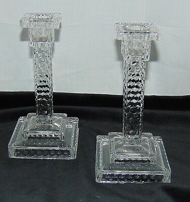 "Fostoria AMERICAN CRYSTAL *7"" SQUARE STEP COLUMN CANDLESTICKS* PAIR*"