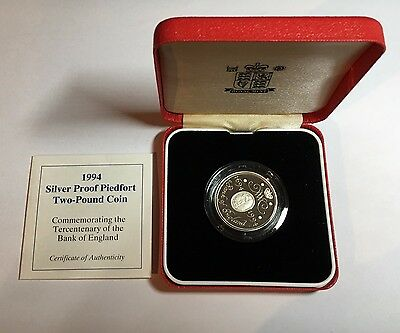 1994 Silver Proof Piedfort Two Pound Coin, Cert and Box