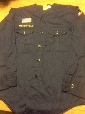 Official Vintage Boy Scout Cub Scout No Collar Navy Long Sleeve Shirt