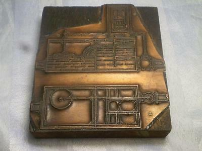 Old Copper Printers Block Industrial Stamped With Rotherham Makers