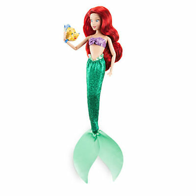"NEW Disney Store The Little Mermaid Ariel Classic 12"" Doll with Flounder Figure"
