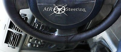 For Peugeot 307 Black Genuine Leather Steering Wheel Cover Black Double Stitch