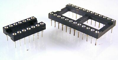 Turned Pin IC Sockets 8 to 32 pin gold contacts 10 pieces OLA2-03 - OLA2-16