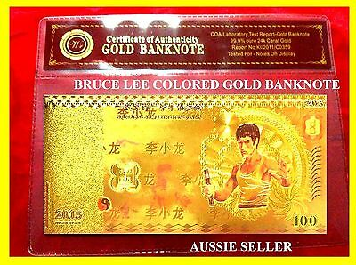 China Bruce Lee Coloured Gold 100 Yuan 2013 Banknote Chinese Note With Coa Buy 2