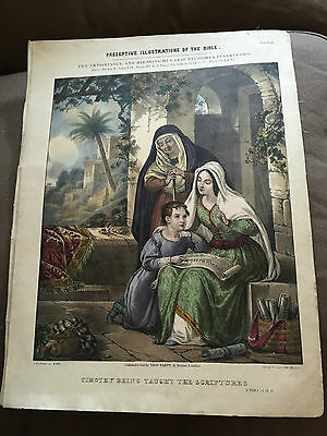 """HUGE ANTIQUE 13""""x17"""" 1850 """"TIMOTHY BEING TAUGHT BY THE SCRIPTURES"""" PRINT"""