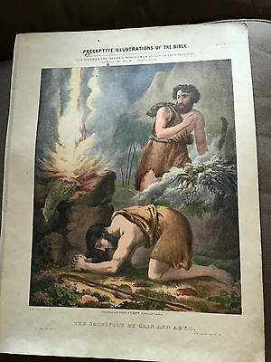 """HUGE ANTIQUE 13""""x17"""" c1850 """"THE SACRIFICE OF CAIN AND ABEL"""" RELIGIOUS PRINT"""
