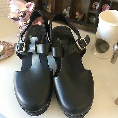 Lotta From Stockholm Size 6 Black Leather Shoes (Mary Jane Clog Style)