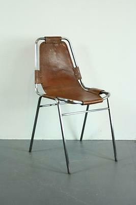 1960s BROWN LEATHER CHARLOTTE PERRIAND LES ARCS CHAIR MIDCENTURY VINTAGE #1903