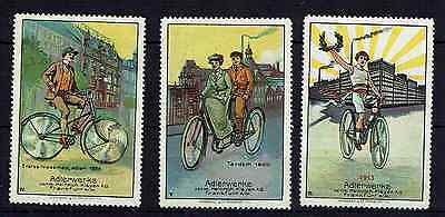Stamps Thematic Cycling-3 German Labels Showing Evolution Of Bicycle 1886-1913