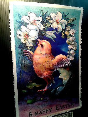 3-D Poster Easter Chick Vintage postcard  Leather like feel large 11x17