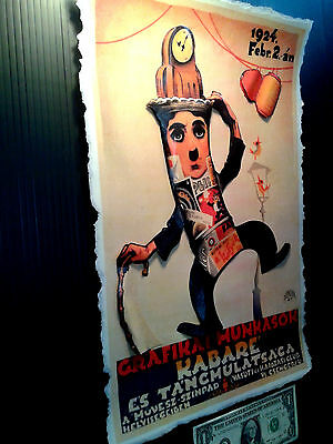 Poster size Vintage postcard in 3-D Leather like feel large 11x17 Chaplin Paris