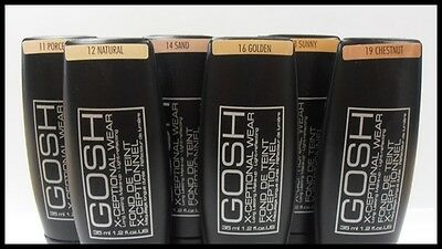 NEW GOSH X-Ceptional Wear Foundation Long Lasting Perfect Make-up 35 ml/6 Shades