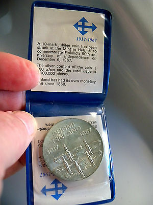 Independence of Finland 50 Years 10 Markka 900 Silver Coin 1967 With Case & Cert