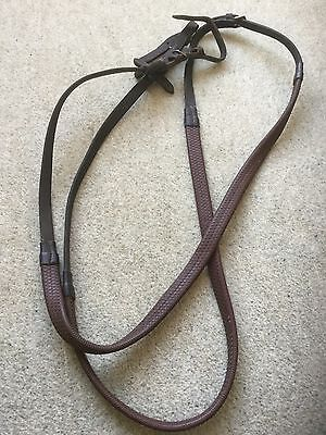 Brown Leather Rubber Reins Full Size With Martingale Stops