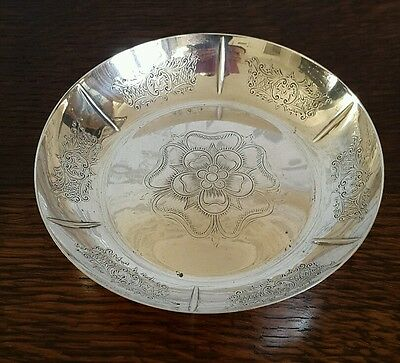 A Vintage Silver Plated Engraved Dish