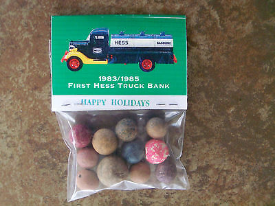 1983-1985 First Hess Truck Bank  Advertisement + Clay Marbles