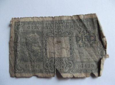 Italy - 10  Lire  Bank Note (Lot 5)