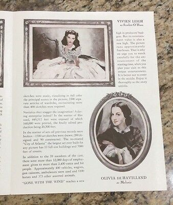Rare Orig VTG 1940 Gone With The Wind Clark Gable Vivien Leigh Film Ad Art Print