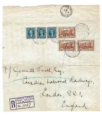 World Postal History-Canada Royal Train 1939 Part Registered Parcel Wrapper 1939