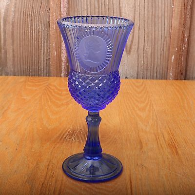 Vintage Blue Fostoria Avon George Washington Goblet