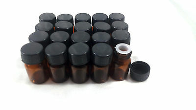 LOT 20 5ml Brown Glass Bottles Vials Clear Tiny Aroma Oil Fragrance Storage