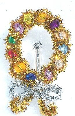 Vintage Gold Tinsel Beaded Christmas Candle Brooch Pin