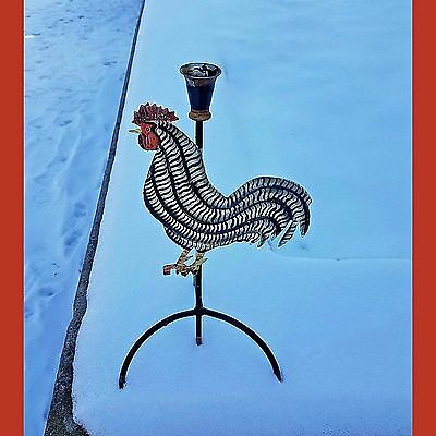 Metal Rooster-Chicken-Hen Candle Stand. Rustic-Country-Primitive