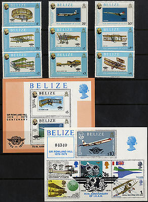 Belize - SG 504-MS513 - 1979 - Rowland Hill Anniv. set of 9 plus m/sheets - MNH