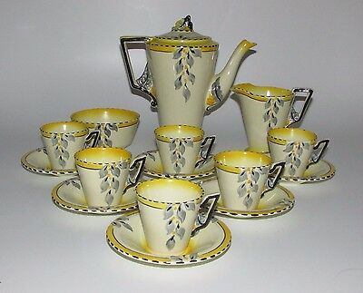 Art Deco Burleigh Ware Zenith Shape 'Bouquet' Pattern Coffee Set for Six. c1930s