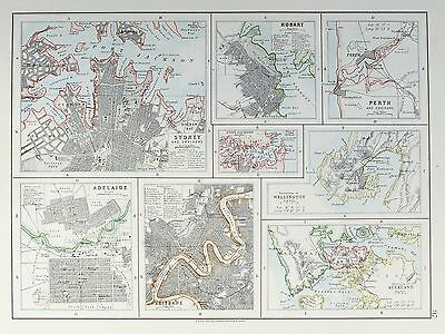 OLD ANTIQUE MAP AUSTRALIA NEW ZEALAND CITY PLANS c1900 SYDNEY PERTH  AUCLAND