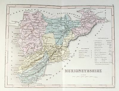 OLD ANTIQUE MAP MERIONETHSHIRE WALES c1840's by J ARCHER ORIGINAL HAND COLOUR
