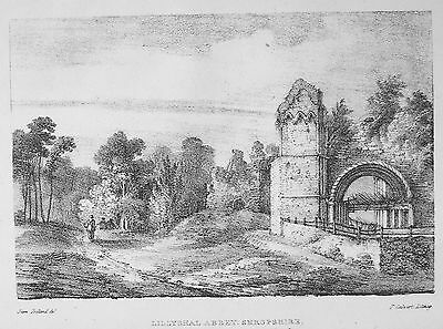 OLD ANTIQUE PRINT LILLYSHAL ABBEY LILLESHALL SHROPSHIRE c1824 LITHOGRAPH