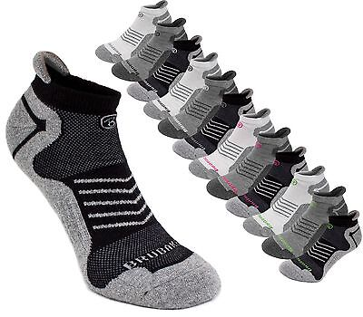BRUBAKER Mens or Womens Cotton Rich Trainer Liner Ankle Sports Socks - Pack of 6