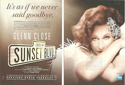 2016 PRINT AD Sunset Boulevard Glenn Close Broadway theatre ADVERTISING PAGES