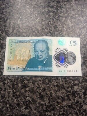 new polymer 5 Pound Note Low Number AA10 000471
