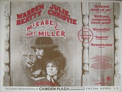 McCABE & MRS MILLER R/R ORIGINAL ROLLED S/S UK QUAD POSTER - CAMDEN PLAZA