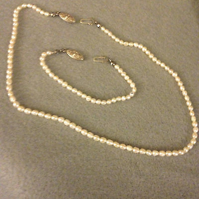 Child's Vintage Seed Pearl Necklace and Bracelet Set with Sterling Sliver Clasps