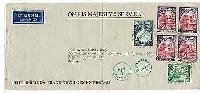 World Postal History-Bermuda Postage Due Cover To Trinidad 1940 High Taxatiion