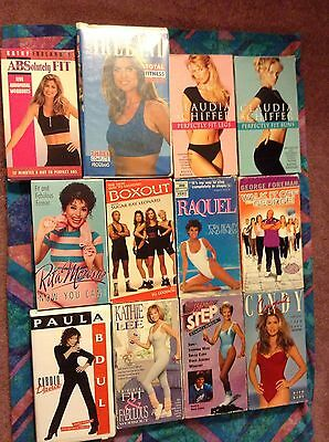 12 VHS Tapes Book Lot Celebrity Exercise Aerobic Workout Yoga Pilates Step