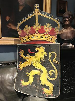 Vintage Antique Plywood Coat of Arms Heraldic Shield Large Painted Prop