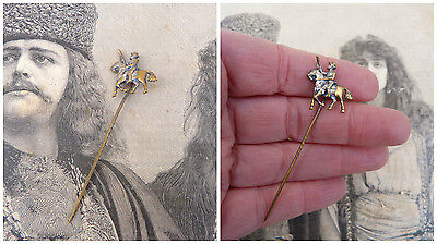 Antique 1900 French silver plate rider/horse/ tie pin