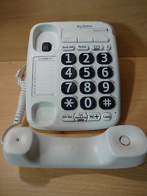 BT Big Button 200 Corded Phone with Phonebook and Speakerphone in White