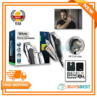 Wahl Deluxe Pro Chrome Complete Hair Clipper & Nose/Ear Trimmer Kit 79524-810