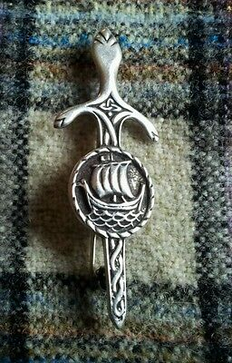 Vintage Scottish solid silver IONA kilt pin by John Hart 1960 VERY RARE