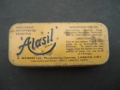 Vintage 'alasil' Analgesic Chemist Tin